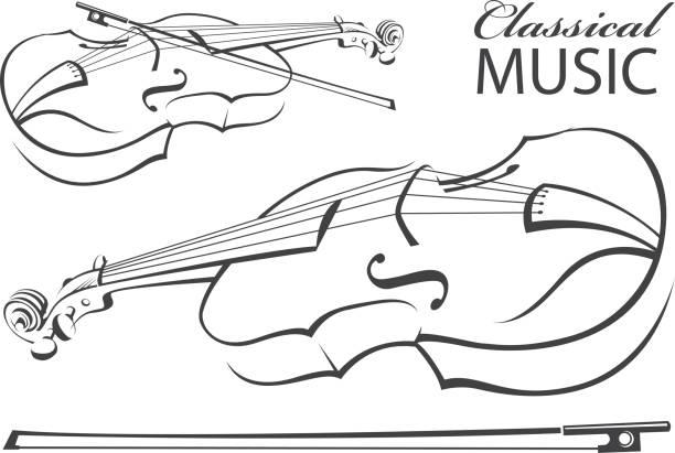 stockillustraties, clipart, cartoons en iconen met afbeelding van de viool - viool