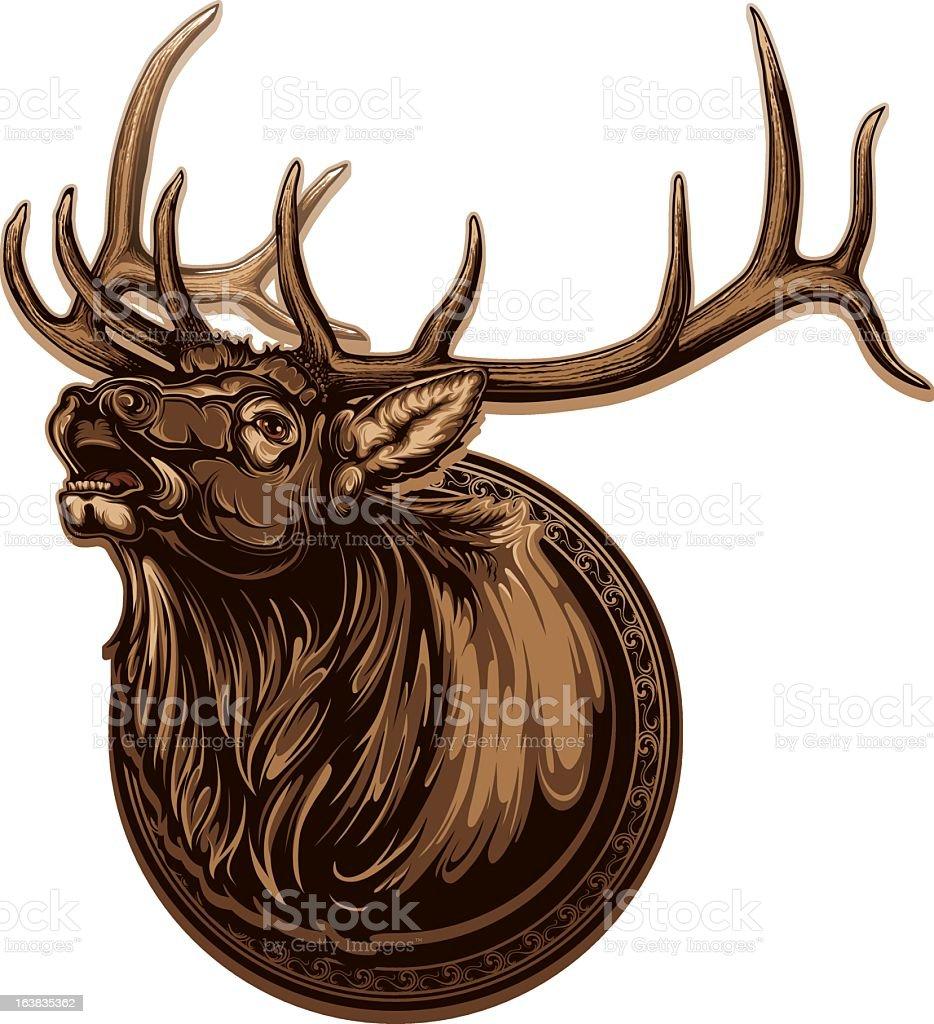 Image of vivid bull elk with long antlers vector art illustration