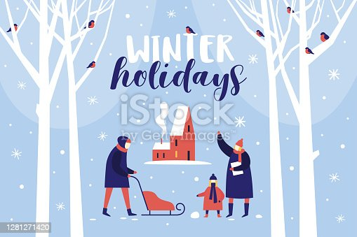 Image of winter walk in snowy park. Parents with child are considering bullfinches. Festive composition for New Year and Christmas. Happy winter holidays. Vector colorful seasonal illustration.