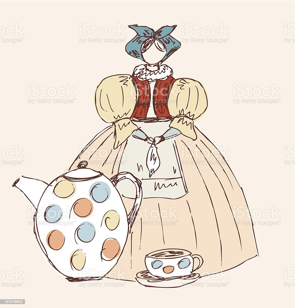 Image of woman in national russian clothes royalty-free stock vector art