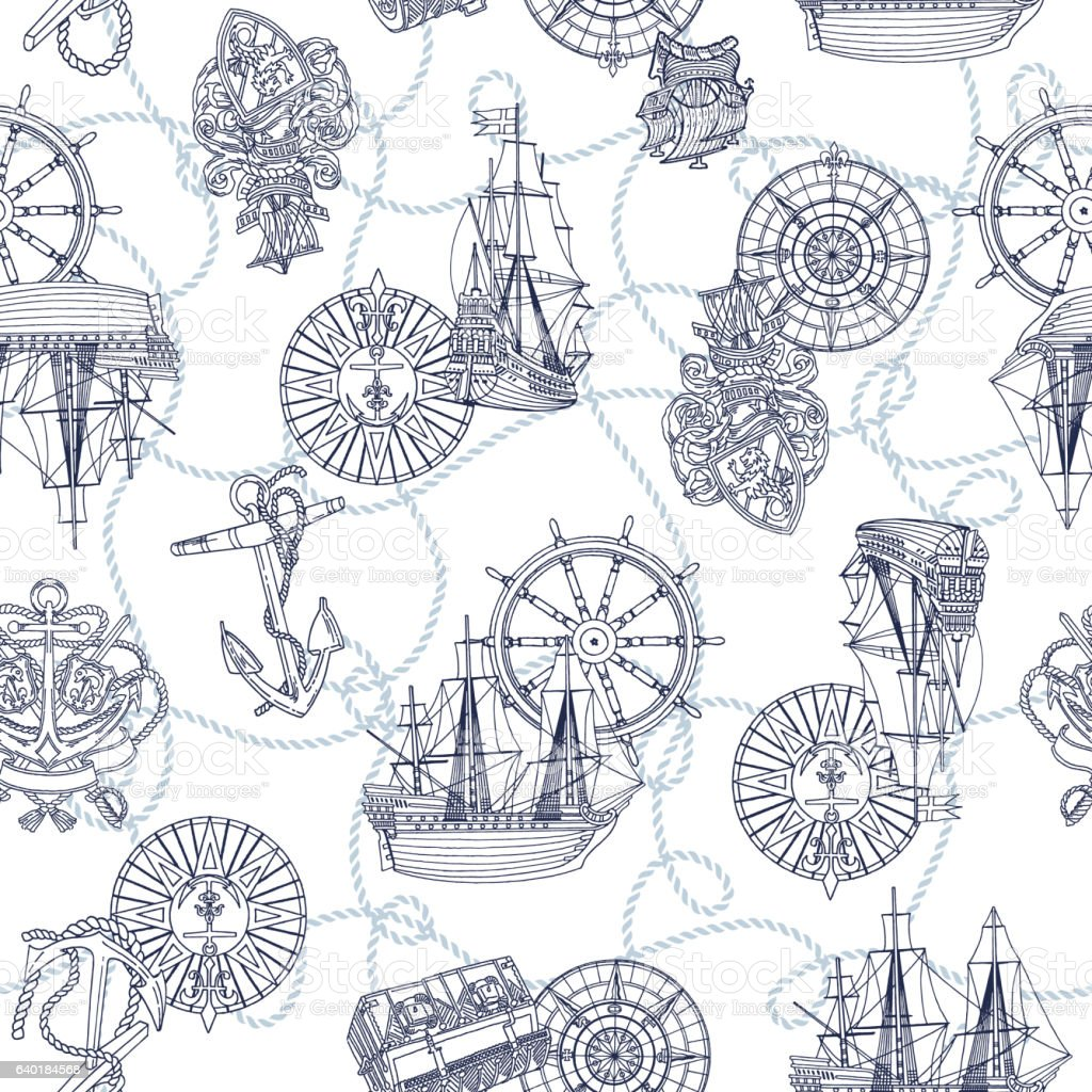 Image pattern of the sailing boat vector art illustration