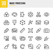 Set of 30 Image Processing thin line vector icons.