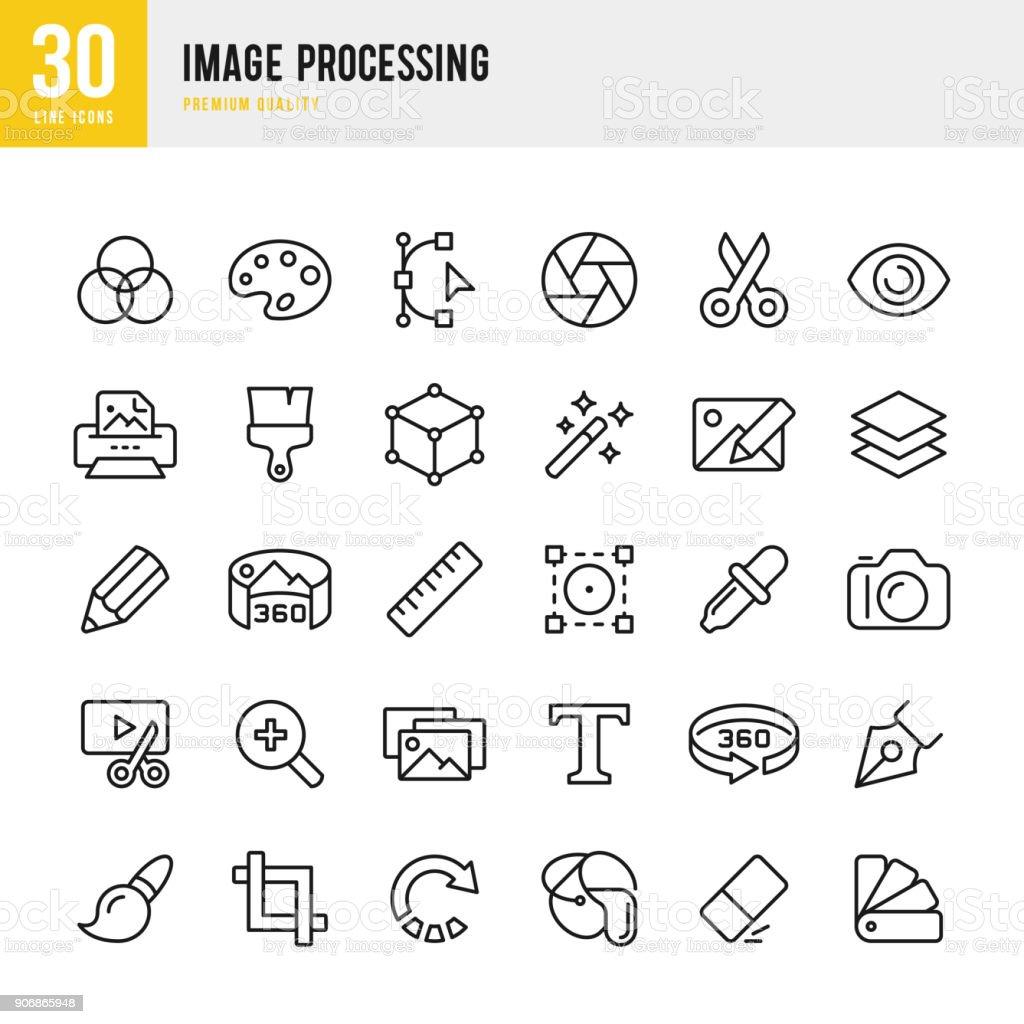 Procesamiento de imágenes - conjunto de iconos de vector de línea delgada - ilustración de arte vectorial