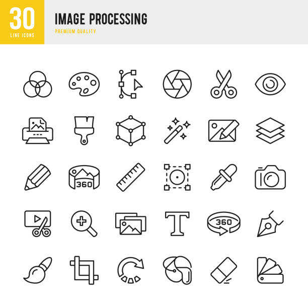 image processing - set of thin line vector icons - pióro przyrząd do pisania stock illustrations