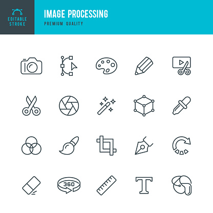 Image Processing - set of vector line icons
