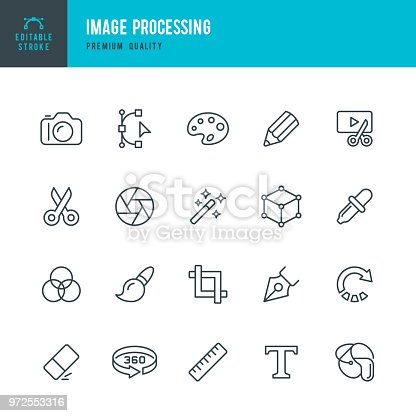 Set of Image Processing thin line vector icons.