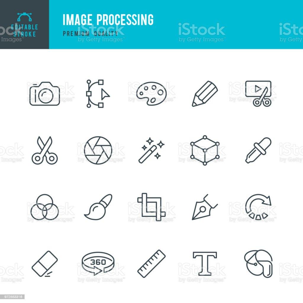Bildverarbeitung - Vektor-Linie-Icons set – Vektorgrafik