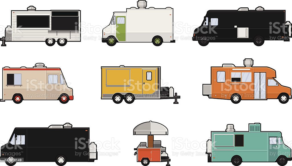 Image set of 9 differently colored food trucks vector art illustration