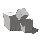 three dimensional illustration - three grayscale simple isolated scattered box cubes with shadow in front of a white background