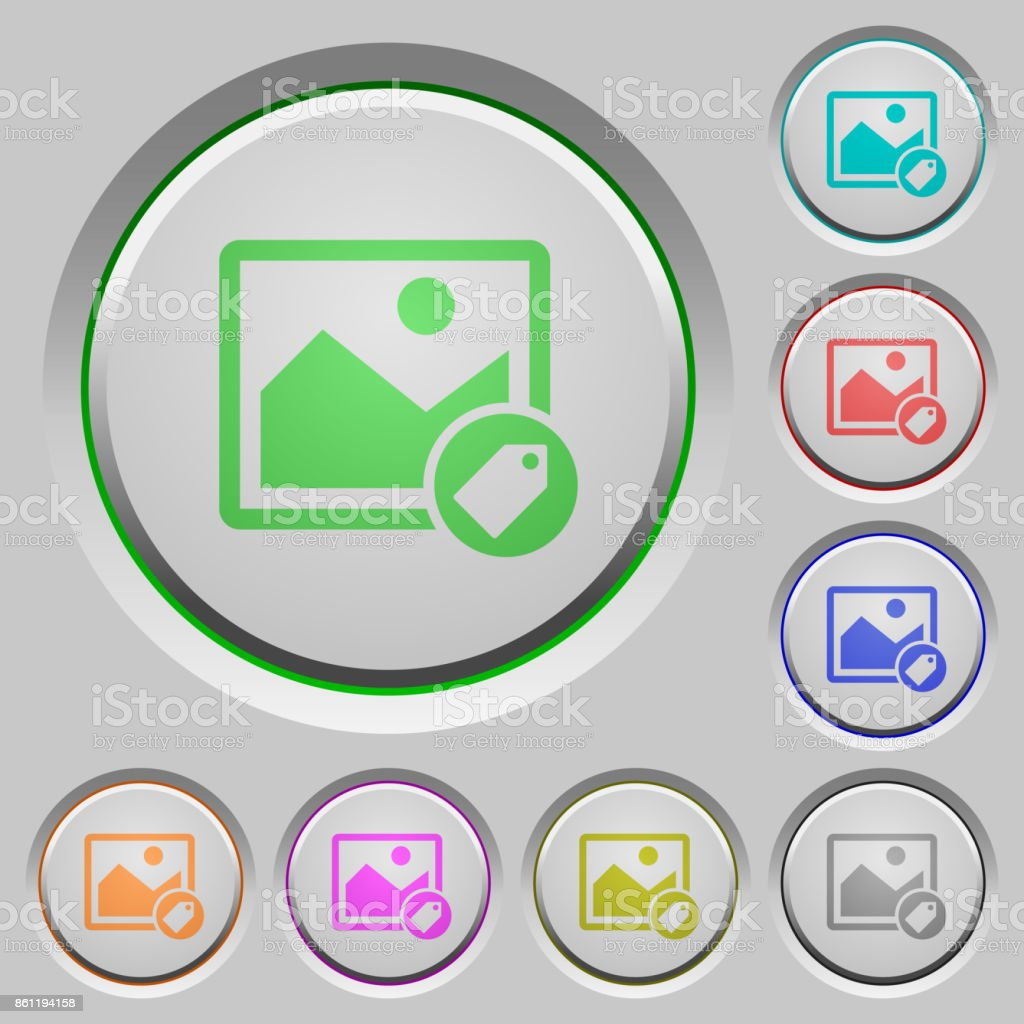 Image tagging push buttons vector art illustration
