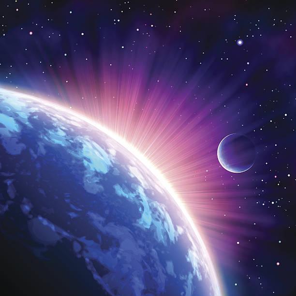 bildbanksillustrationer, clip art samt tecknat material och ikoner med image taken from a satellite showing the suns rays - earth from space