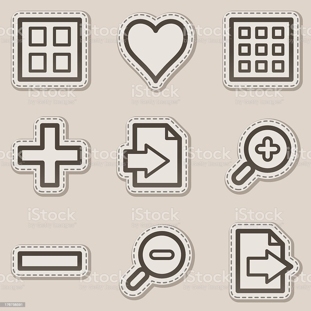 Image viewer web icons set 1, brown contour sticker series royalty-free stock vector art