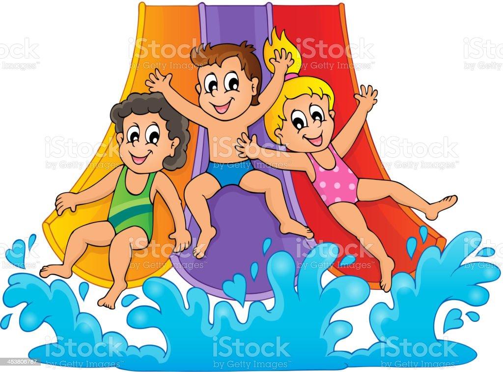 Image with aquapark theme 1 royalty-free stock vector art