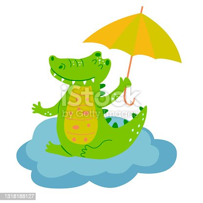 istock Image with cute cartoon crocodile on a blue cloud. Vector graphics on a white background. For the design of posters, postcards, notebook covers, childrens illustrations, prints for mugs 1318188127