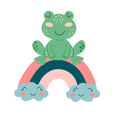 Image with cute cartoon frog on a colorful rainbow. Vector graphics on a white background. For the design of posters, postcards, notebook covers, childrens illustrations, prints for mugs