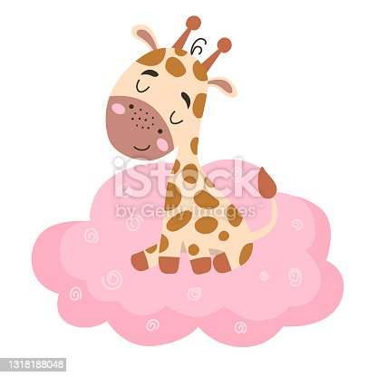 istock Image with cute cartoon giraffe on a pink cloud. Vector graphics on a white background. For the design of posters, postcards, notebook covers, childrens illustrations, prints for mugs 1318188048