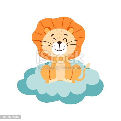 istock Image with cute cartoon lion on a blue cloud. Vector graphics on a white background. For the design of posters, postcards, notebook covers, childrens illustrations, prints for mugs 1318189050
