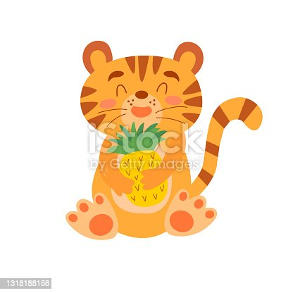 istock Image with cute cartoon tiger with pineapple. Vector graphics on a white background. For the design of posters, postcards, notebook covers, childrens illustrations, prints for mugs, t-shirts 1318188158