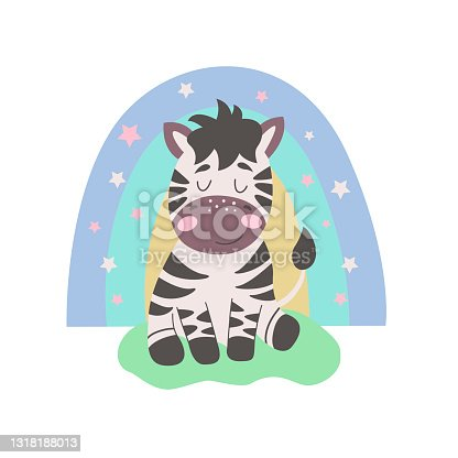 istock Image with cute cartoon zebra on a colorful rainbow. Vector graphics on a white background. For the design of posters, postcards, notebook covers, childrens illustrations, prints for mugs 1318188013
