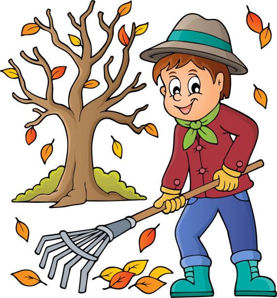 Top 60 Raking Leaves Clip Art Vector Graphics And Illustrations