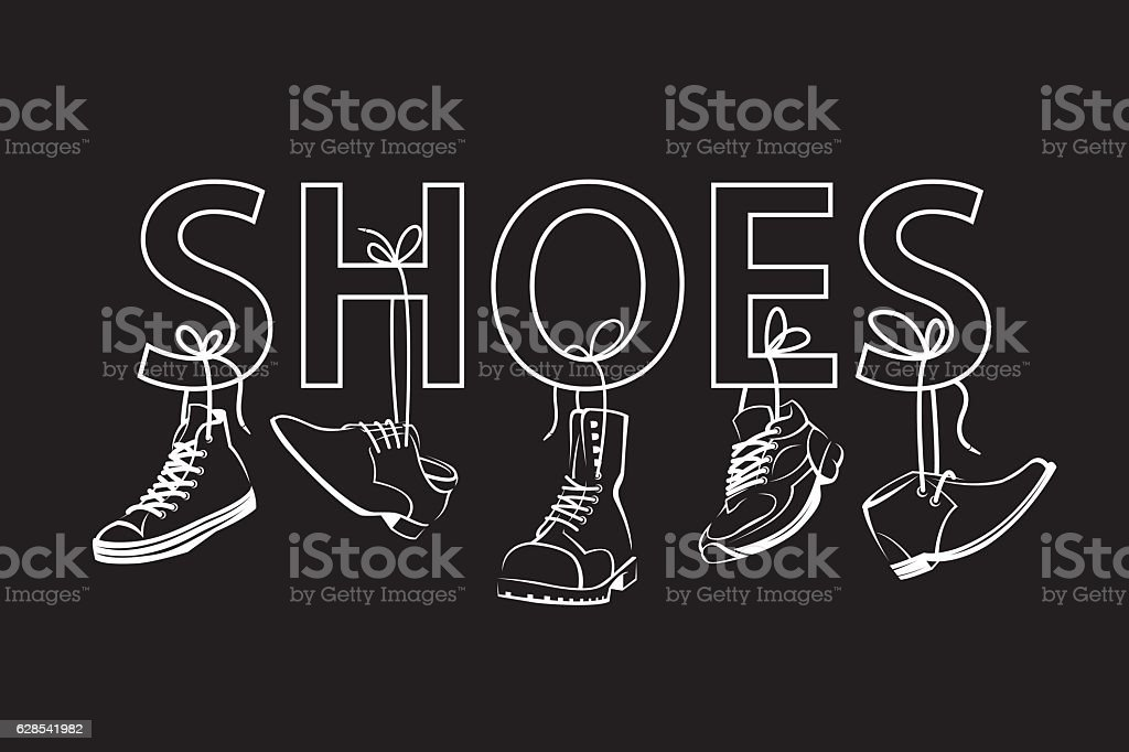 image with text and shoes vector art illustration