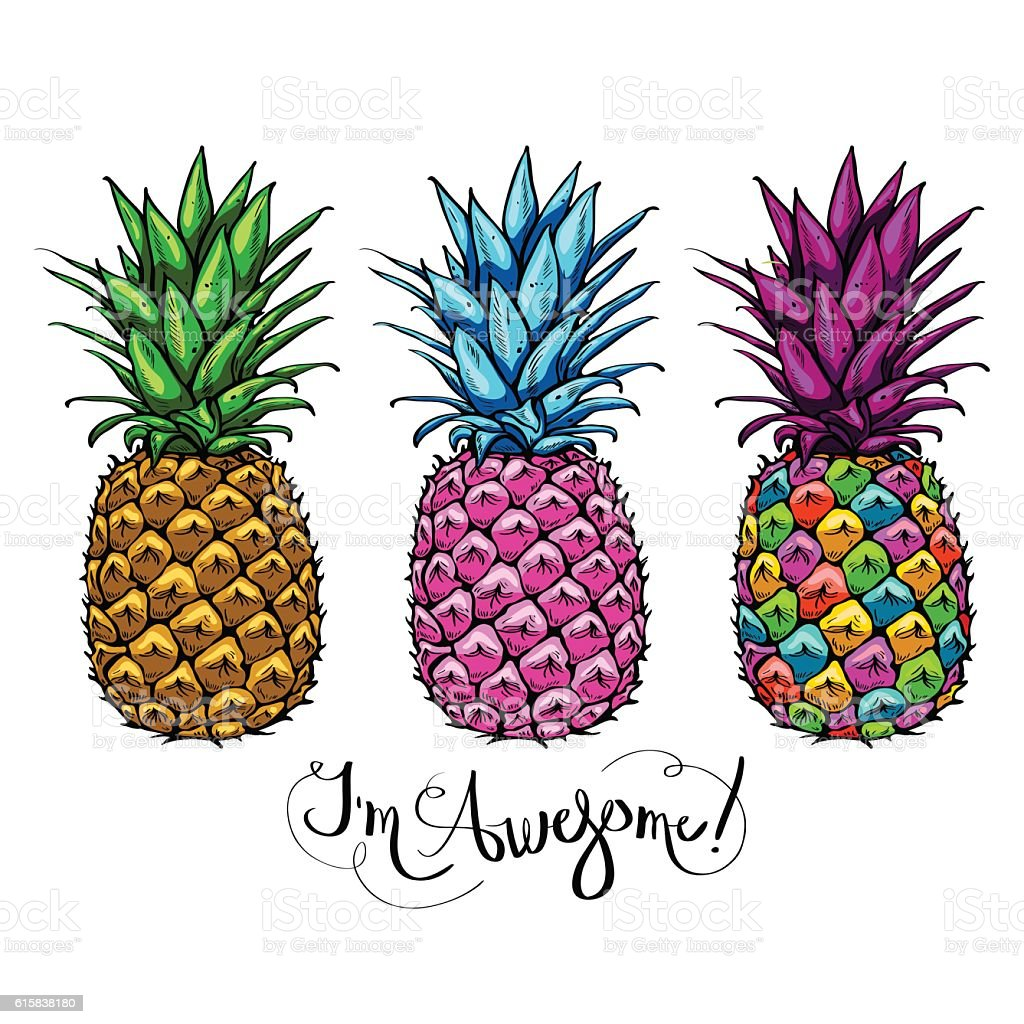 Image with three multicolored pineapples fruit lettering awesome – artystyczna grafika wektorowa