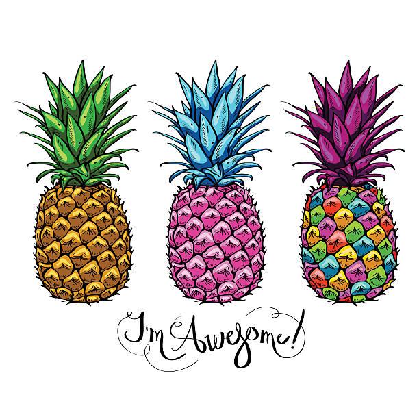 illustrazioni stock, clip art, cartoni animati e icone di tendenza di image with three multicolored pineapples fruit lettering awesome - ananas