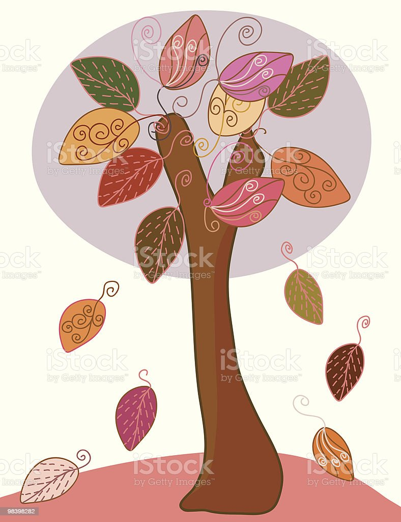 Imagery tree with big leaves at the autumn royalty-free imagery tree with big leaves at the autumn stock vector art & more images of autumn