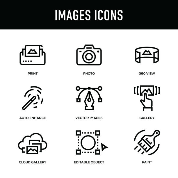 ilustrações, clipart, desenhos animados e ícones de conjunto de ícones de imagens - série de linha grossa - imagem