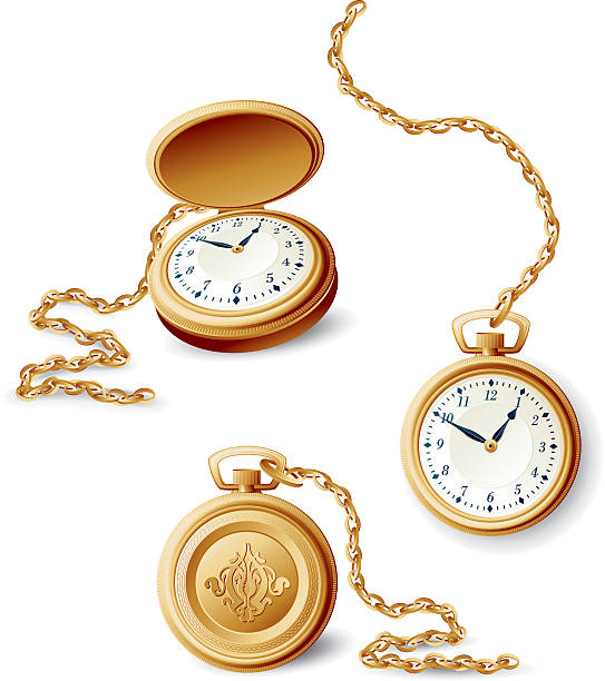 Images of a gold pocket watch in different orientations vector art illustration