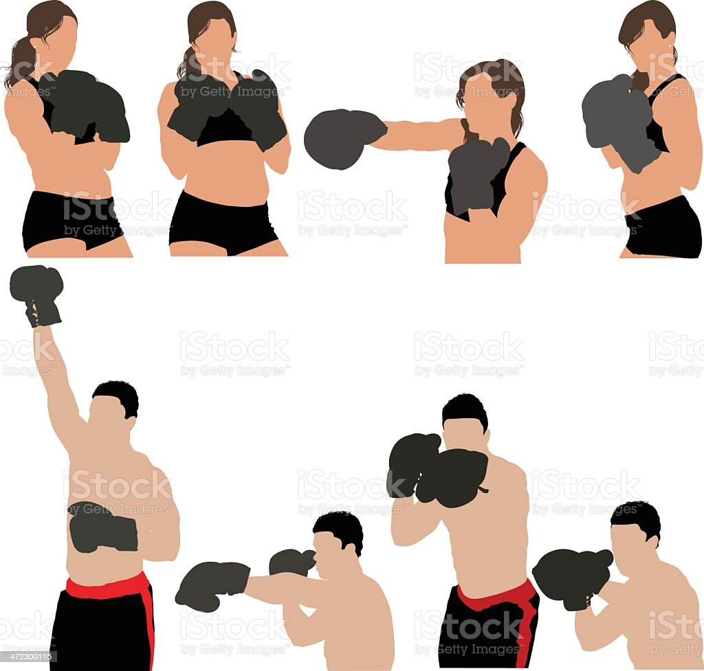 Images of boxers punching royalty-free stock vector art