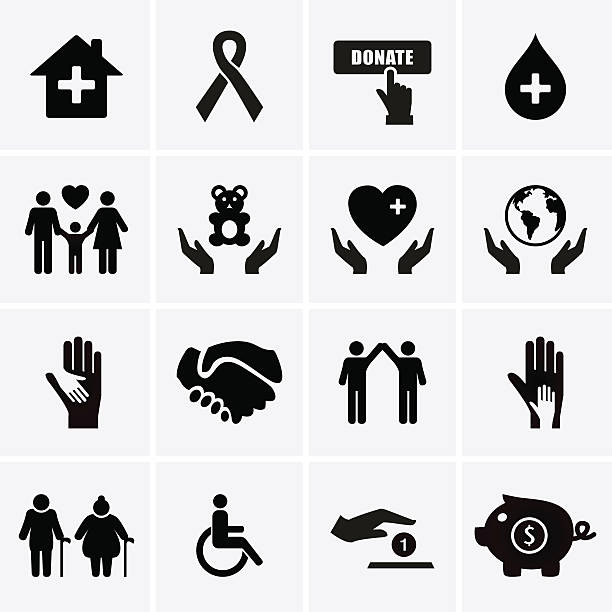 Images of charity and relief symbols in boxes Charity and Relief Work. Vector for web relief emotion stock illustrations
