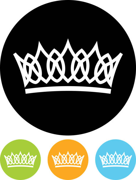 Images of circular logo depicting a crown, four colors vector art illustration