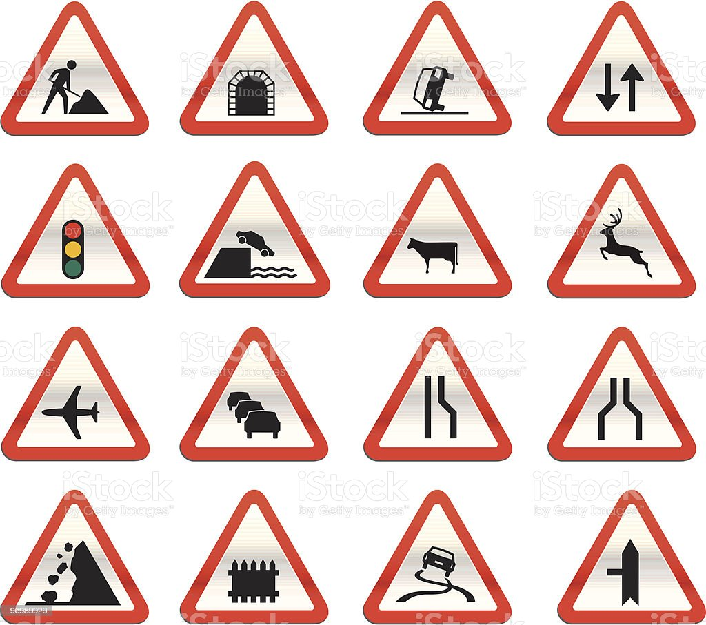 Images of road signs in red triangles vector art illustration