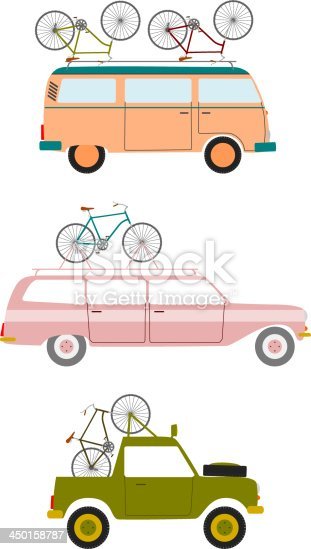 Set of silhouettes of cars transporting bicycles.