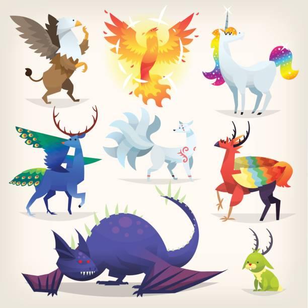 동화에서 상상의 동물 - 그리핀 stock illustrations
