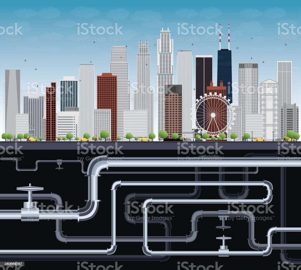 Imaginary Big City with Skyscrapers, Blue Sky, Trees and Tubes vector art illustration