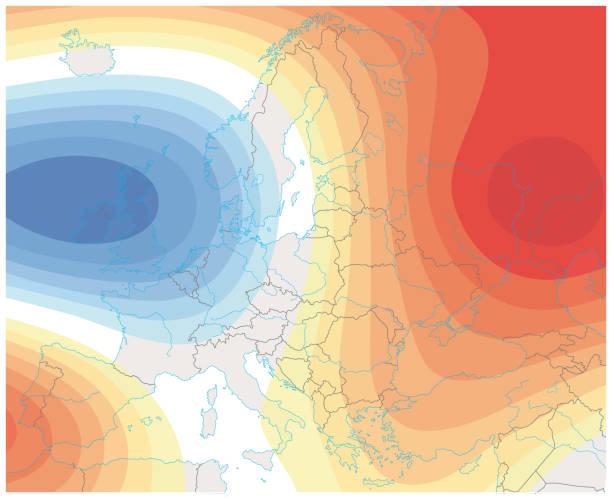 imaginäre meteorologischen wetterbild der wetterkarte europa. - wärme stock-grafiken, -clipart, -cartoons und -symbole