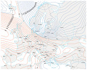 imaginary meteorological weather map of europe