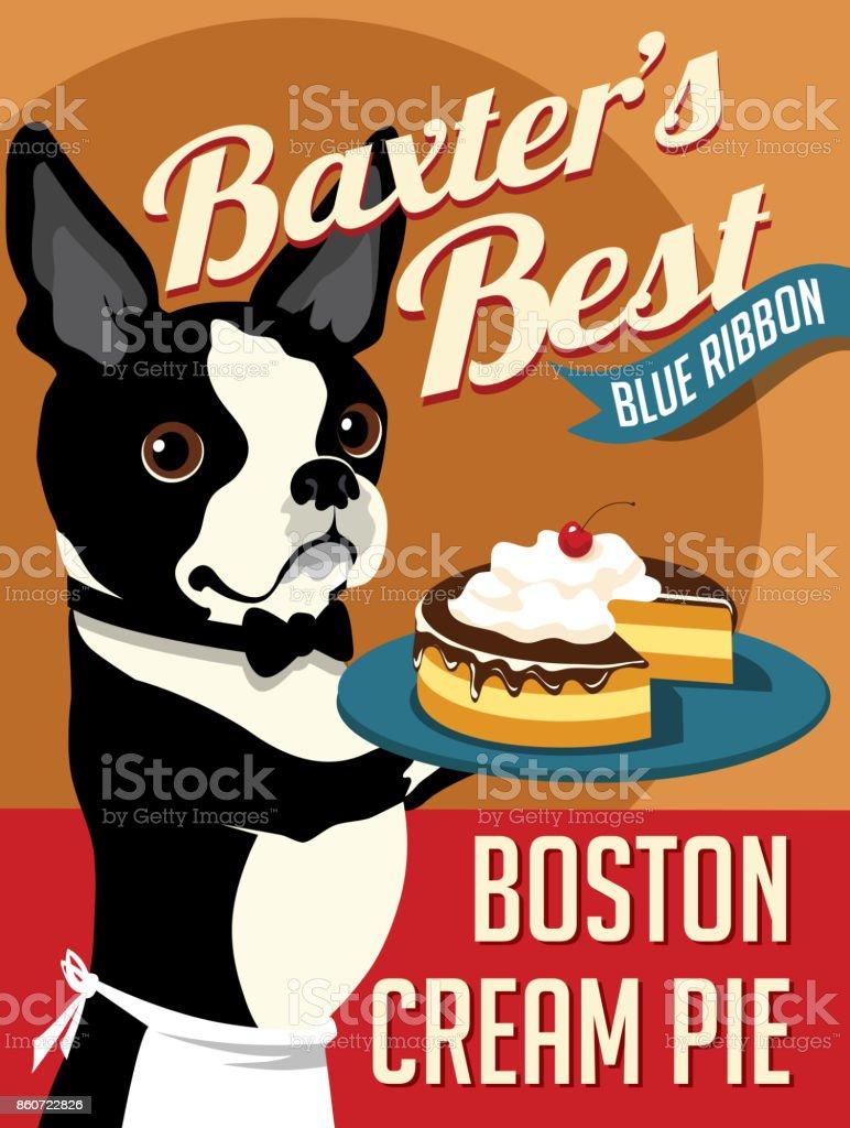 Imaginary poster with cute Boston Terrier with Boston Cream Pie.  Vector illustration. vector art illustration