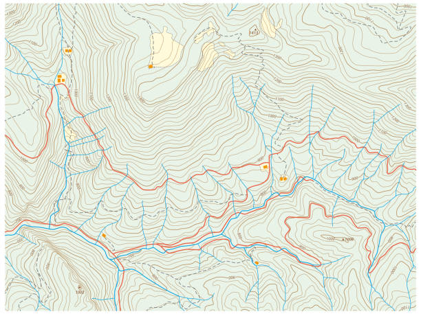 imaginary topographic hiking map imaginary topographic hiking vector map topography stock illustrations