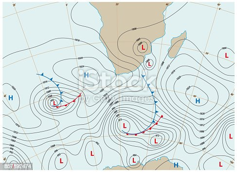 imaginary weather map showing isobars and weather fronts