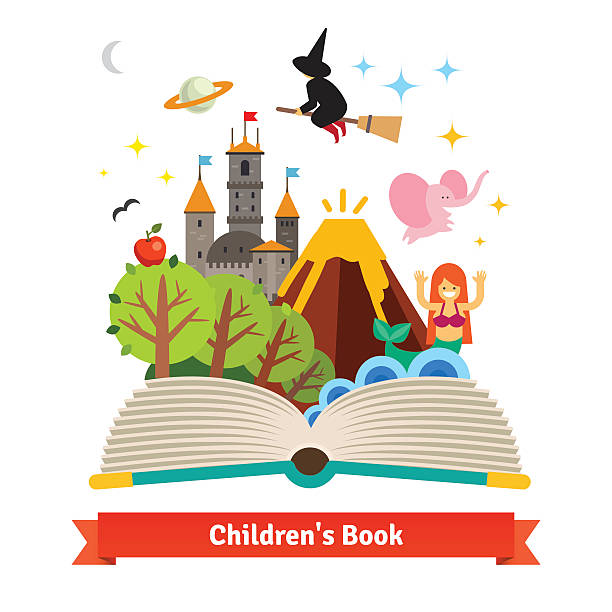 stockillustraties, clipart, cartoons en iconen met imagination coming to life in children fairy tail - prentenboek