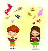 Imagination concept. Boy and girl reading a book and objects flying out. Vector illustration