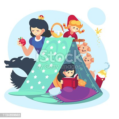 Imagination concept, child little girl with open book. Fairy Tales character Blanket fort happy childhood.