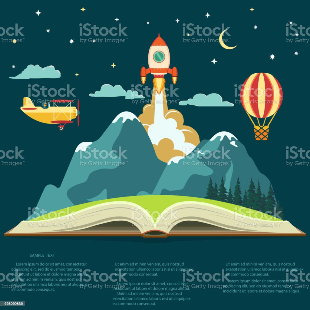Imagination concept, open book with a mountain, flying rocket, air balloon and airplane vector art illustration