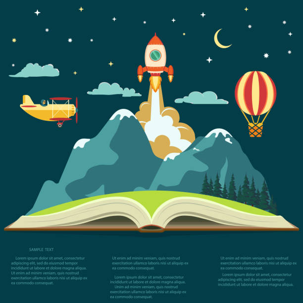 imagination concept, open book with a mountain, flying rocket, air balloon and airplane - book backgrounds stock illustrations