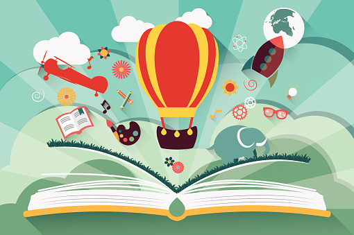 Imagination concept - open book with air balloon, rocket and airplane flying out