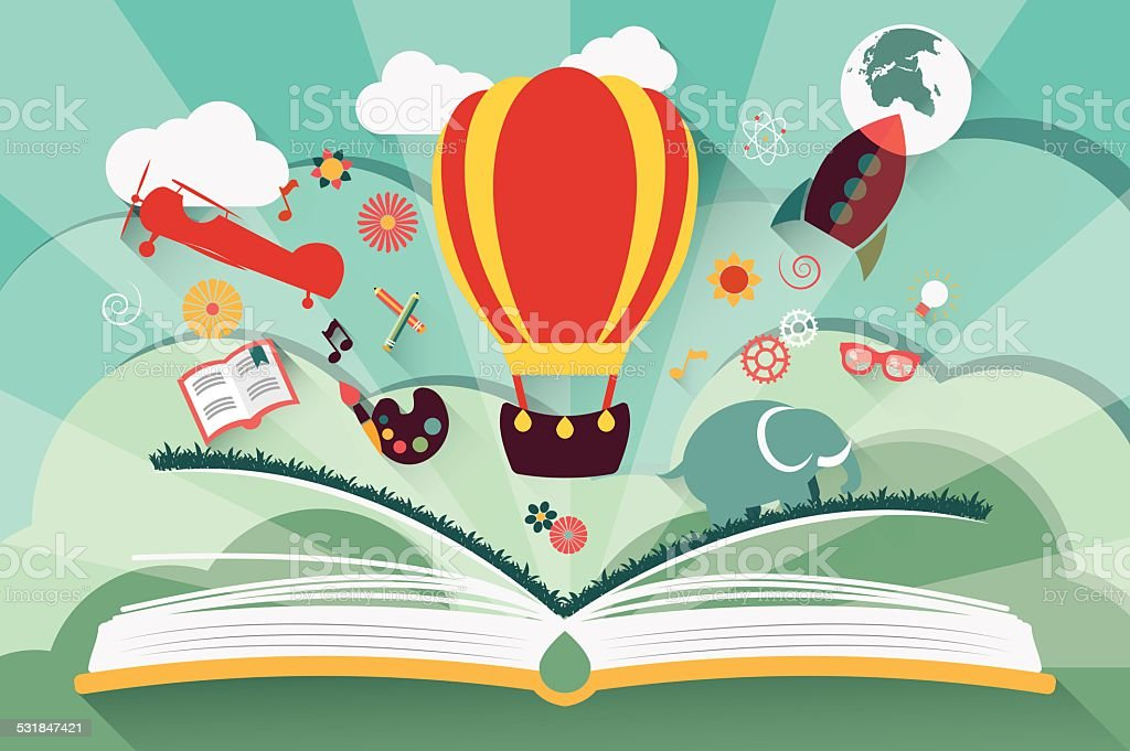 Imagination concept - open book with air balloon vector art illustration