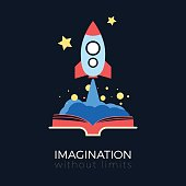 Imagination without limits: space exploration concept. Flat design vector illustration. Space rocket flying to stars from opened book. Simple and stylish, isolated on black background.